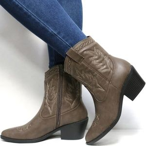 Shoes - New Taupe Mid Calf Ankle Cowboy Low Western Boots